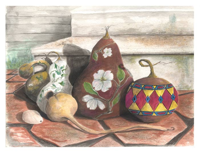 gourds on the porch watercolor